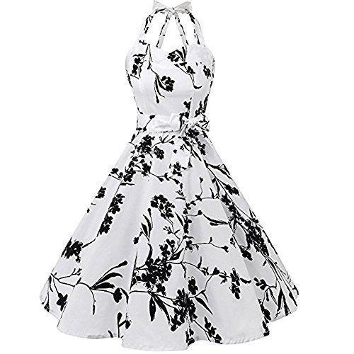 id Strandkleid Partykleid Rundhals Rock Mädchen Blumen Drucken Kleider Frauen Mode Kleid Kurz Hemdkleid Blusekleid Kleidung ()