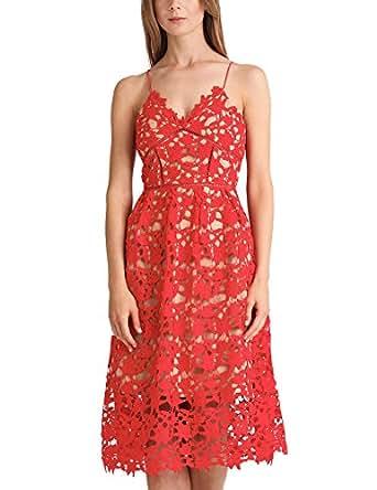 APART Fashion Damen Kleid Fashion: Coral-Reef & LACE Mehrfarbig (Rot-Nude) 32
