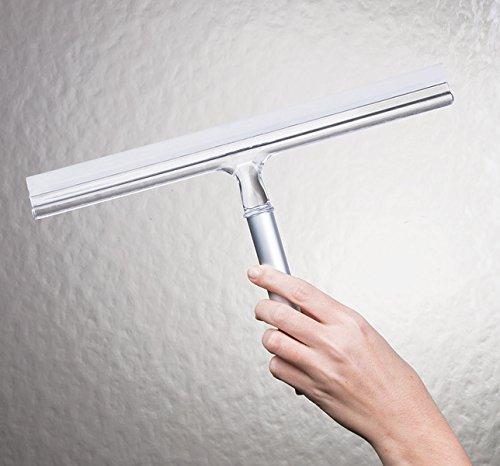 51eR7trGPRL - mDesign Espátula limpiacristales para Ducha - Óptima como limpiavidrios para mamparas de Ducha o Ventanas - Limpiador de Cristales de Color Plateado - con Ventosa para fijación a Pared - Aluminio