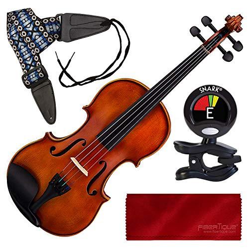 Oxford Violine/Viola mit Koffer, Stimmgerät, Gurt, Anfänger-Set, Antik-Finish -