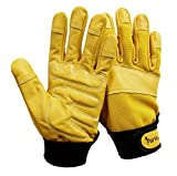 Gardening Gloves, Leather Garden Gloves Thorn Proof Gloves with Padded Palms, Work Gloves (Medium, Yellow)