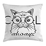 KAKICS Cat Throw Pillow Cushion Cover, Cool Smart Fashion Kitty Image in Big Glasses Hipster Pet Animal Kids Satire Sketch, Decorative Square Accent Pillow Case, 18 X 18 inches, Black White
