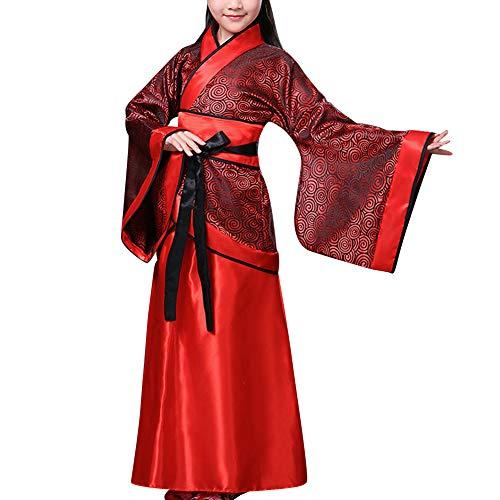 Verkleiden Mädchen Kostüm Chinesische - Daytwork Bühne Aufführungen Tanz Hanfu - Mädchen Historisch Chinesisch Braut Kostüm Anzug Kostümzubehör Cosplay National Traditionell Team Uniform (EU 90=Etikette 100)