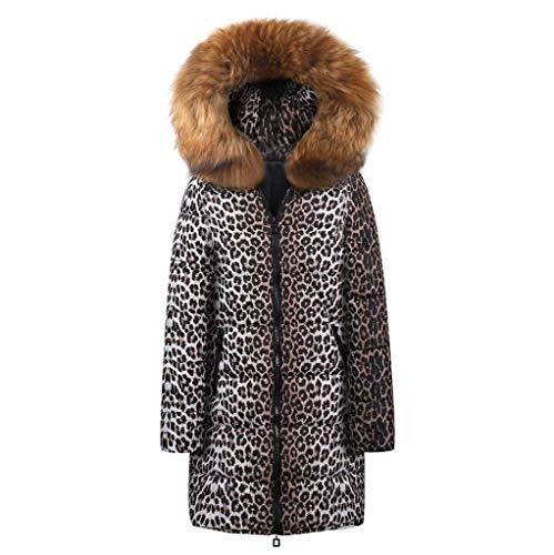 JMETRIC Damenmode aus Baumwolle mit Leopardenmuster und Kapuze, knielangen, Langen Daunenjacken aus Baumwolle