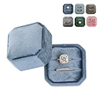 BINGHONG3 Ring Box with Detachable Lid Velvet Double Ring Box Octagon Wedding Ceremony