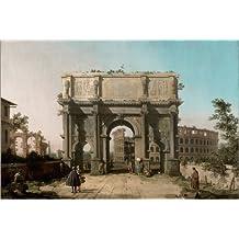 Cuadro sobre lienzo 120 x 80 cm: Arch of Constantine with the Colosseum de Antonio Canaletto / Everett Collection - cuadro terminado, cuadro sobre bastidor, lámina terminada sobre lienzo auténtico,...
