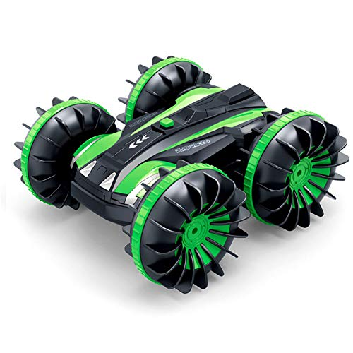 RC Car Amphibious Waterproof Remote Control Car 2.4Ghz 4WD All Terrain RC Truck, Double-Side 360 Degree Spins, einhalb18 Scale Toy for Kids(Green)