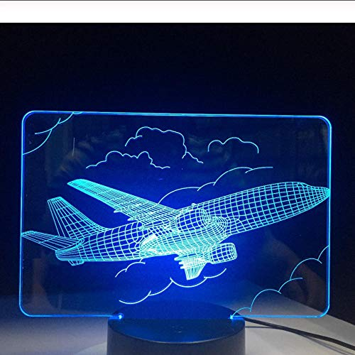 Pbbzl Fighter 3D Night Light Novelty Led Plane Table Lamp 7 Colors Change Touch Switch Remote Control Jet Night Light Kid Gift