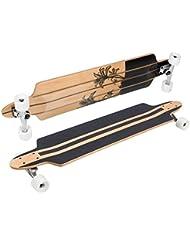 Longboard de SportPlus, arce canadiense, ruedas PUC, rodamientos cromados ABEC 7, completamente montado, formas y estilos diferentes