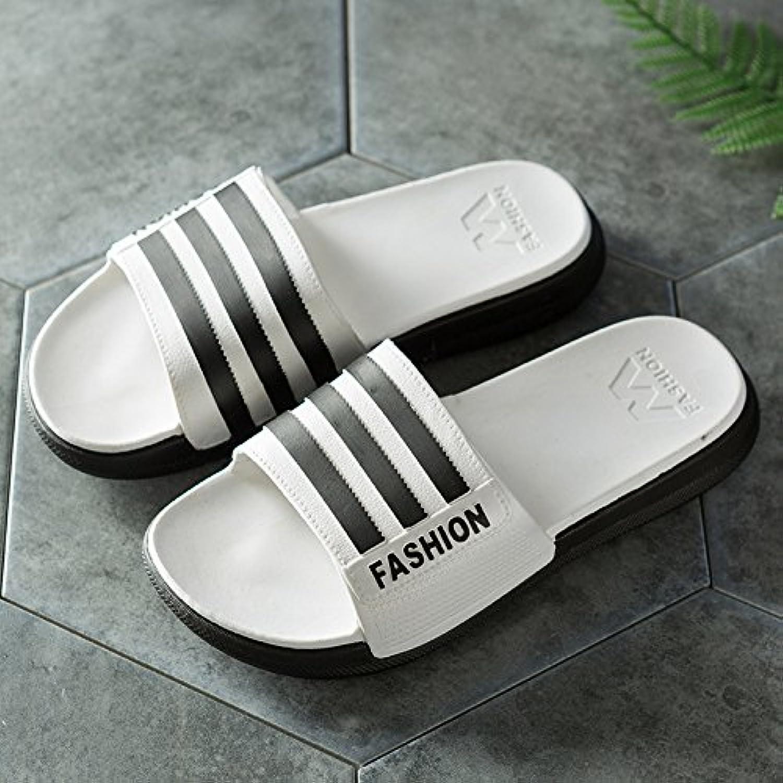 Pantuflas para hombres zapatillas para usar en verano, baño interior y exterior antideslizante espeso, blanco 41