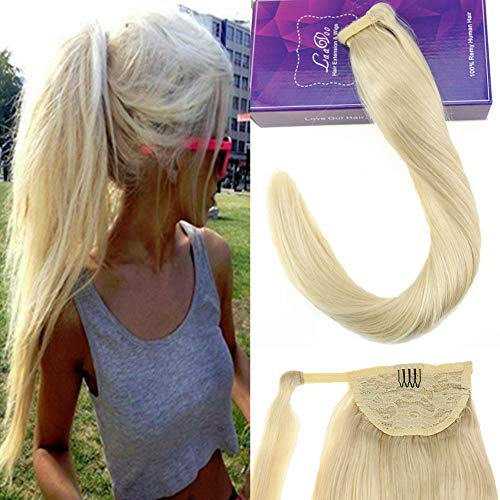 Laavoo 14pollice 80gr coda capelli extension clip colorate bionda platino #60 clip on extensions remy human hair ponytail easy fit liscio corto