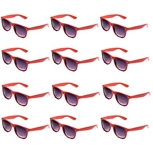 OAONNEA 12 Paare Lustige Neon Party Sonnenbrillen Set fur Kinder Damen Sommer 80er Uv400 (12rot)
