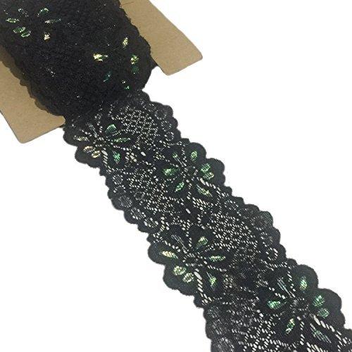 Spitze Realm 5,7cm 10Meter Stretch Blumenmuster Spitze Ribbon Trim Spitze für Headbands Strumpfbänder Dekorieren Floral entwerfen & Crafts schwarz -