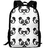 TTmom Schulrucksack,Schüler Bag,Rucksack Damen Herren Vintage Panda with Glasses College Laptop Backpack Student School Bookbag Rucksack Travel Daypack