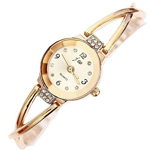 Women Watches Rose Gold Bracelet Chain Rhinestone