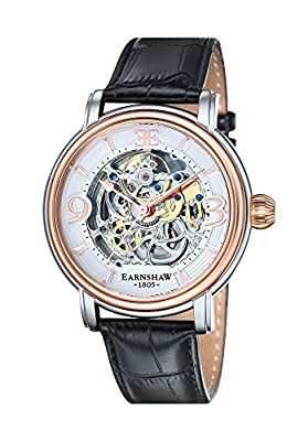Thomas Earnshaw ES-8011-06 - Reloj para hombre con esfera blanca analógica de mecanismo visible y correa de cuero negra de Thomas Earnshaw
