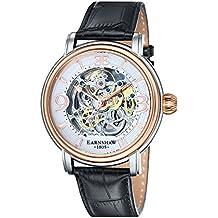 Thomas Earnshaw ES-8011-06 - Reloj para hombre con esfera blanca analógica de mecanismo visible y correa de cuero negra
