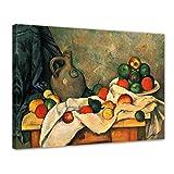Wandbild Paul Cézanne Stillleben mit Vorhang, Krug und Obstschale - 70x50cm quer - Alte Meister Berühmte Gemälde Leinwandbild Kunstdruck Bild auf Leinwand
