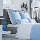 Rose Village  Luxus Bettwäsche-Set, Design LA BAULE, Hergestellt in Frankreich, Edelperkal 80 Fd./cm² (200 TC/in²), Zweifarbig: weiß/blau (Bettwäsche-Set 135x200+80x80)