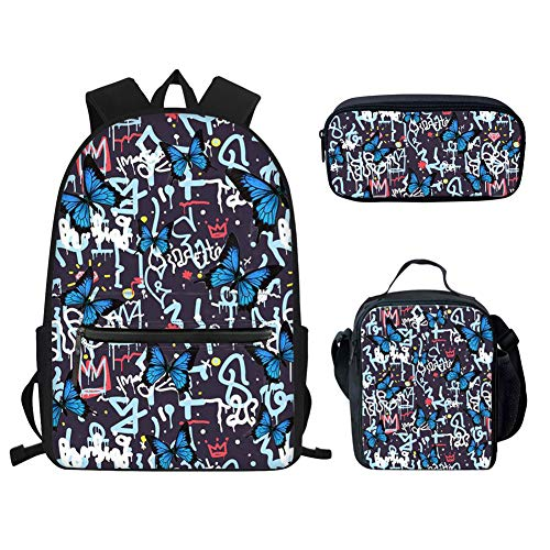 Gao's Graffiti Butterfly Schultaschen-Packs Junior School Student Bookbags Kinder Mädchen Reiserucksack mit Lunchbox Taschen Federmäppchen Leichtgewicht