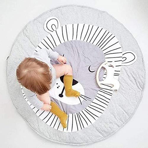 Babyspielmatte - Boden-Spielmatte Kinderrunder Teppich Rutschfeste, Waschbare Krabbeldecke Aus Baumwolle - Nickerchende Decke Mit Cartoon-Löwendruck -