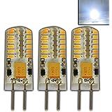3 Stück - G4 LED 3 Watt 48 SMDs KALTWEIß Dimmbar 12V~ AC/DC Wechselspannung mit 48x 3014 SMDs (Epistar) 250 Lumen ~ 15W 330° Stiftsockel Leuchtmittel Lampensockel Spot Halogenersatz Halogen Lampe