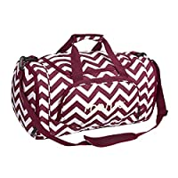 MOSISO Water Resistant Gym Sports Dance Travel Weekender Duffel Bag with Shoe Compartment, Chevron Wine Red