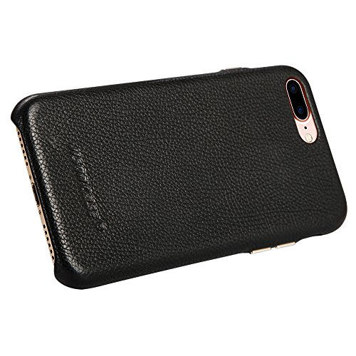 Jisoncase KLASSISCH iPhone 8 Plus / iPhone 7 Plus Leder Case Braun JS-I8L-12Y20 Schwarz