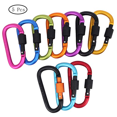 5Pcs Locking Karabiner Premium Aluminium D-Ring Climbing Clip Haken Schnalle Schlüsselanhänger Durable Karabinerhaken Clips Für Outdoor, Wandern, Angeln, Rucksack (Zufällige Farben) -