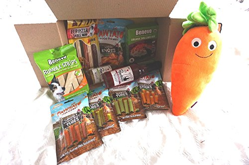 Paradise Pets THE ULTIMATE VEGAN VEGETARIAN DOG CHRISTMAS BIRTHDAY PAMPER HAMPER FILLED WITH VEGAN TREATS PAWSECCO DOG WINE VEGAN DOG CAKE BAKING KIT AND PLUSH CARROT TOY