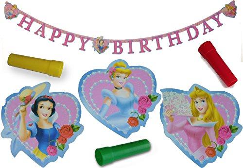 Kinder Geburtstag Girlande Party Happy Birthday Dekoration Kindergeburtstag Deko Prinzessin rosa pink Herzlichen Glückwunsch + Pfeife als Kinder-Spielzeug Fete Geburtstagsfeier Mädchen Girlanden
