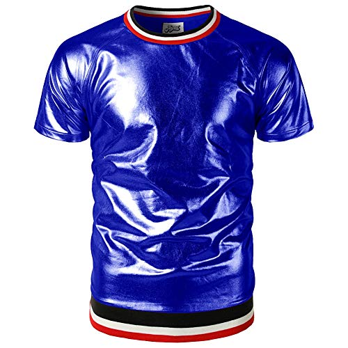 Biddtle Herren Lackleder T-Shirt Wetlook Männer Shirt Langarmshirt Top Achselhemd Unterhemd Slim Fit Rundhals Gerippter Saum Glänzend Clubwear,Blau,M -