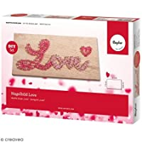 Rayher 70025000 String Art Picture, DIY Craft Kit Love, 21x10x0.9cm
