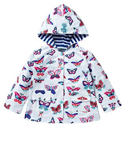 Koo-T Girls Rain Coat Jacket Summer Hood Windbreaker Spring Mac Raincoat Age 1 To 6 Years Pink/Blue/Green/Purple/Red (3-4 Years (110), White Butterfly)