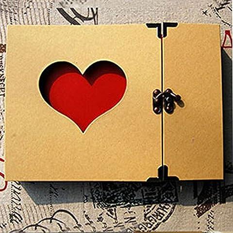 Tiptiper Creative Hollowed Herz Liebe Form Foto Fotografie Bild Album Einklebebuch-Grün-Abdeckungs-Aufkleber DIY Fertigkeit Gedächtnis-Jahrestags-Geschenk