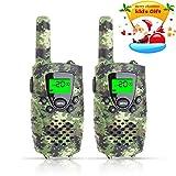 Fayogoo Walkie Talkie per Bambini, Raggio di 4 Miglia Radio Bidirezionale con Flash e Schermo LCD. 2 Confezioni. Verde Camouflage