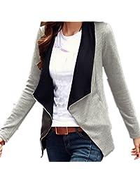 ZANZEA Femme Col Revers Coton Veste Manches Longues Blazer Gilet Jacket