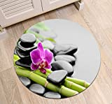 Bambus Orchidee Massagestein schwarz grün lila Anti-Rutsch-Maschine waschbar Runde Bereich Teppich Wohnzimmer Schlafzimmer Badezimmer Küche weichen Teppich Bodenmatte Home Decor,80x80 CM