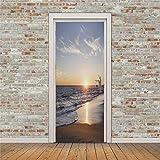 JKLI 3D Porta Adesivo Vista Mare Vista Mare Onda Spiaggia PVC Carta da Parati Poster Adesivo da Viscosa Fai da Te Decorazione Morsa Casa Murale Impermeabile