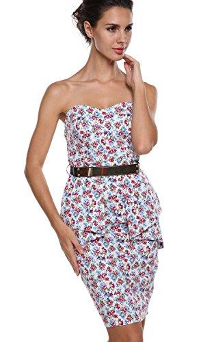 ACEVOG Damen Trägerlose Floral Abendkleider Party Bodycon Cocktailkleider Rückenfrei Abschlussballkleid mit Gürtel Schößchen Vintage Kurz -
