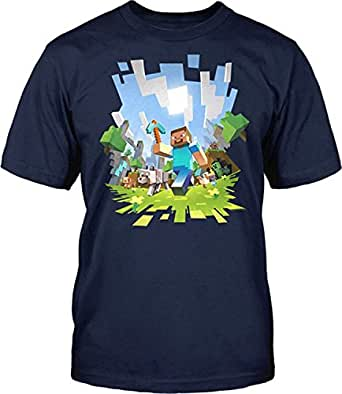 Official Boys Minecraft Adventure T-shirt Mine Craft Short Sleeve Tshirt Top Tee (7-8 years)
