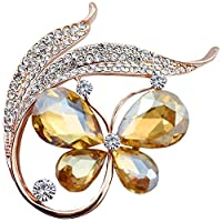 FENGJI Crystal Gold Plated Jewellery Butterfuly Rhinestone Coat Brooch Pin Gold Yellow