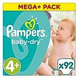 Pampers Baby-Dry Windeln, Gr.4+ (9-18kg), Mega Plus, 1er Pack (1 x 92 Stück)