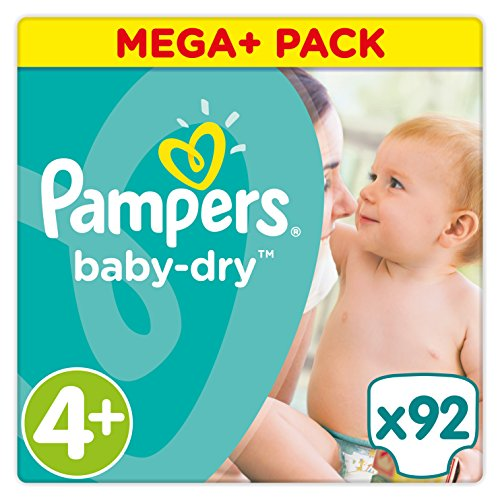 Pampers Baby Dry taille 4 +, 9–18 kg, Mega Plus Pack, 92 pièces