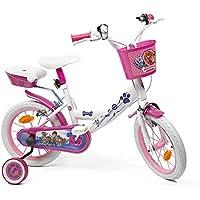 Denver Vélo Enfant Paw Patrol - Bicyclette Fillette La Pat' Patrouille 14'' avec Petites Roues, Pédales Réfléchissantes et Sonnette - Blanc et Rose - 4/7 Ans