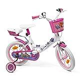 """Bicicletta Bambina Paw Patrol - Bici Bimba 14"""" con Rotelle Pedali catarifrangenti e Campanello - Kit di sicurezza con Fanali e Catadiottri Ruote - Bianco e rosa - 4/7 anni (Modello con Faretto)"""
