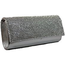 Lauren Diamante Detail Flapover Clutch Bag in Silver -- SwankySwans