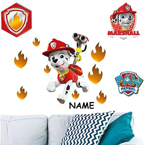 12 TLG. Set _ Wandtattoo / Sticker -  Paw Patrol - Feuerwehr Hund Marshall  - inkl. Name - Wandsticker - Aufkleber für Kinderzimmer - selbstklebend + Wieder.. ()