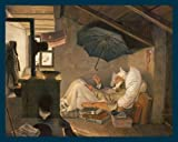 Bild mit Rahmen Carl Spitzweg - Der arme Poet - Digitaldruck - Holz blau, 113 x 90cm - Premiumqualität - Klassiker, Kranker Mann, Dichter, Regenschirm, Bruchbude, Armut, Dachwohnung.. - MADE IN GERMANY - ART-GALERIE-SHOPde