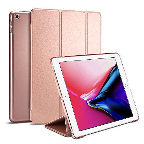 iPad 9.7 Zoll 2018 / 2017 Hülle, Spigen [Smart Fold] Stand Funktion [Rose Gold] Premium Leder Tasche, Semi-transparente Rückseite Magnetish Case / Auto Schlaf & Aufweck Trifold Stand Funktion für iPad hülle 9.7 zoll, iPad 2018/2017